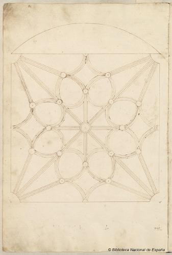 BIBLIOARQUITECTONICA Traza bóveda de crucería Pedro de Alviz. [Dibujos de trazados arquitectónicos]. [s.l.]: [manuscrito], [c.1525-1550]. fol. 29v. Imagen: Biblioteca Nacional de España, Madrid. Signatura: Mss/12686